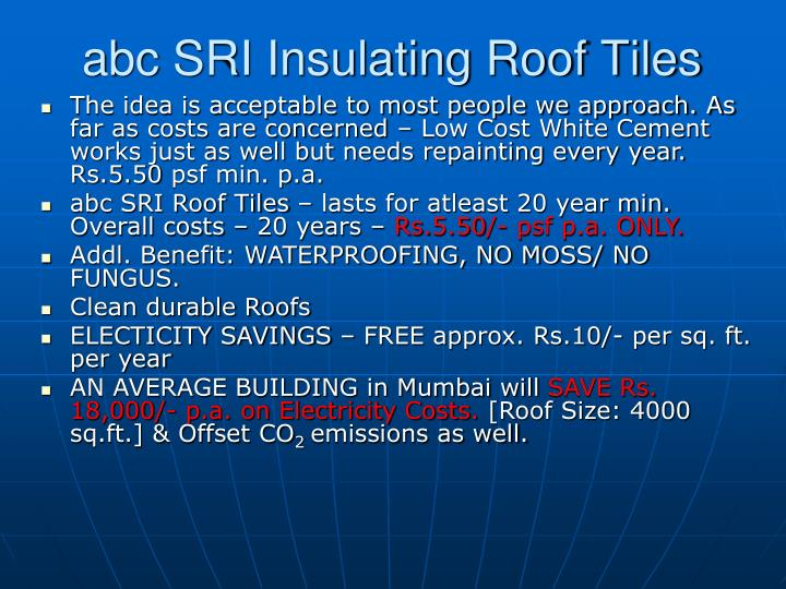 abc SRI Insulating Roof Tiles