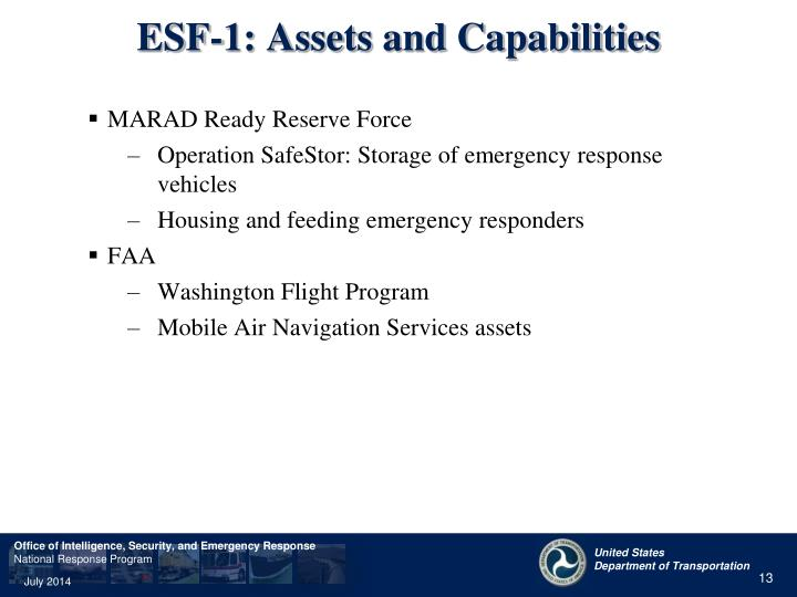 ESF-1: Assets and Capabilities
