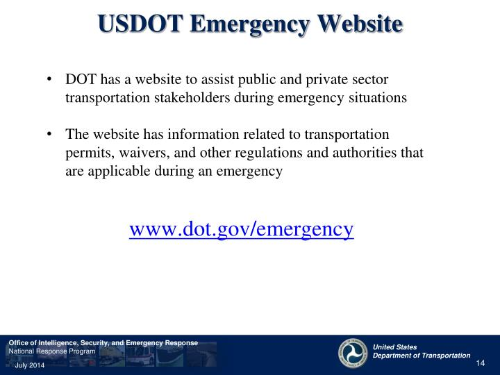 USDOT Emergency Website