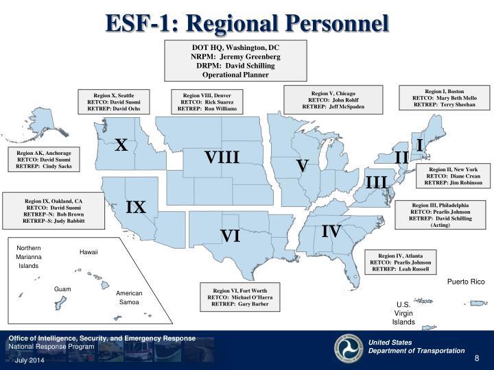 ESF-1: Regional Personnel