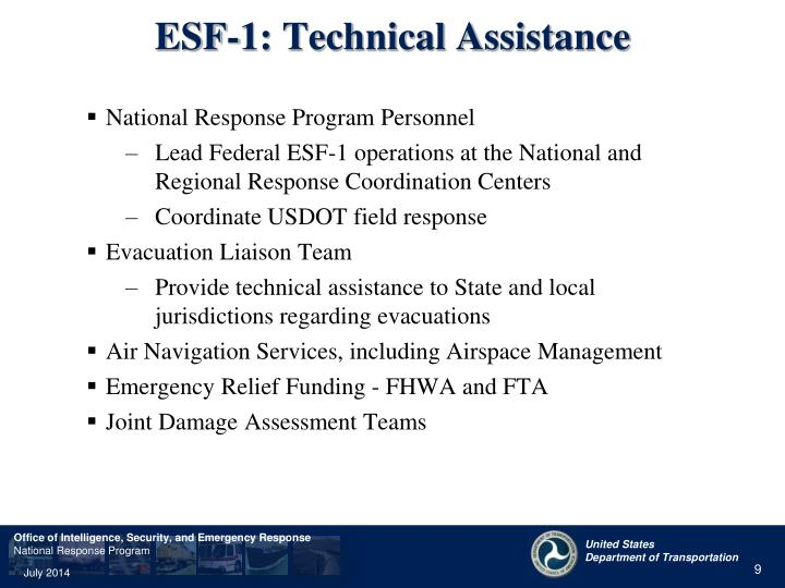 ESF-1: Technical Assistance