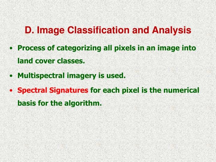 D. Image Classification and Analysis