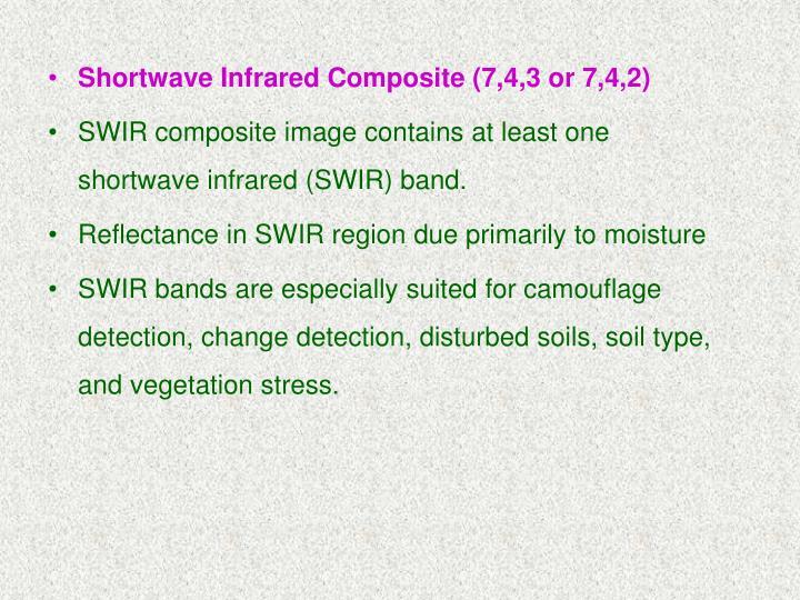 Shortwave Infrared Composite (7,4,3 or 7,4,2)