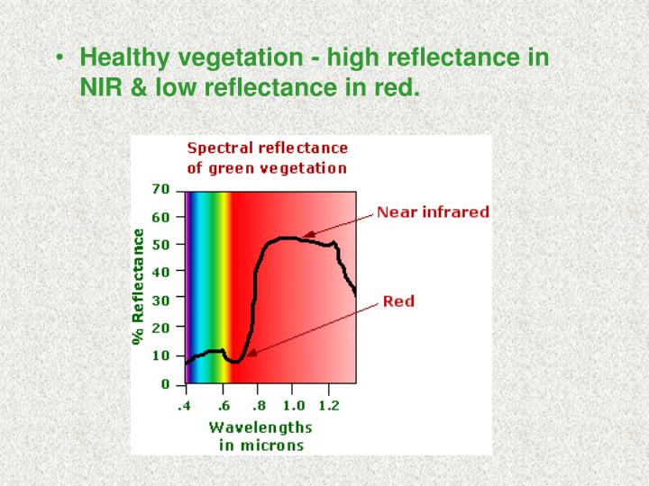 Healthy vegetation - high reflectance in NIR & low reflectance in red.