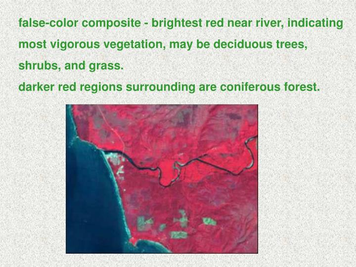 false-color composite - brightest red near river, indicating most vigorous vegetation, may be deciduous trees, shrubs, and grass.