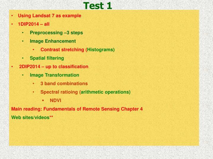 Using Landsat 7 as example