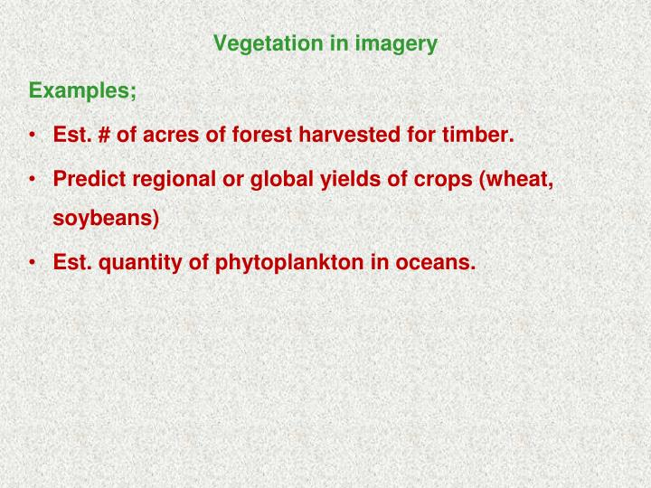 Vegetation in imagery