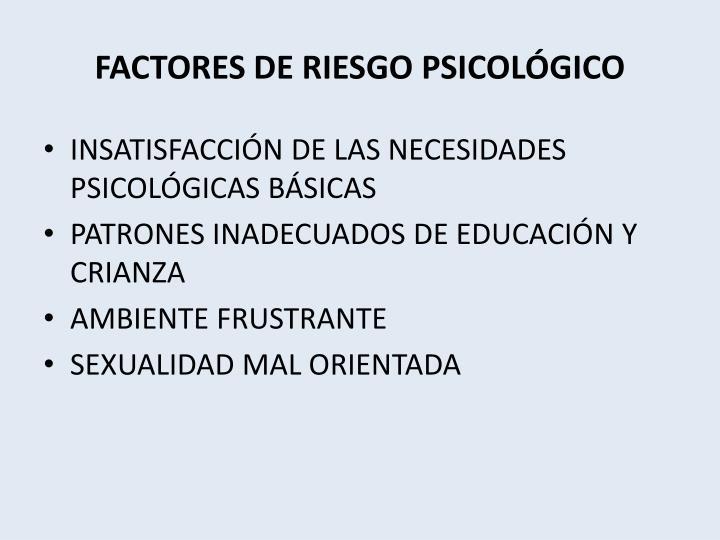 FACTORES DE RIESGO PSICOLÓGICO