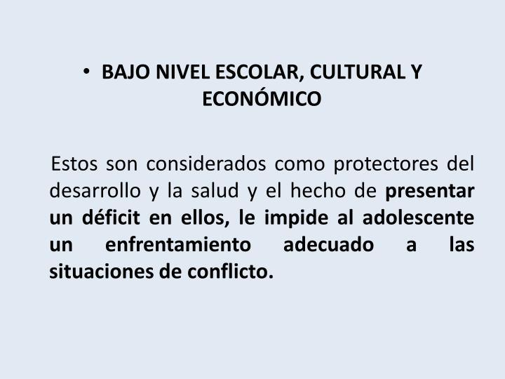 BAJO NIVEL ESCOLAR, CULTURAL Y ECONÓMICO
