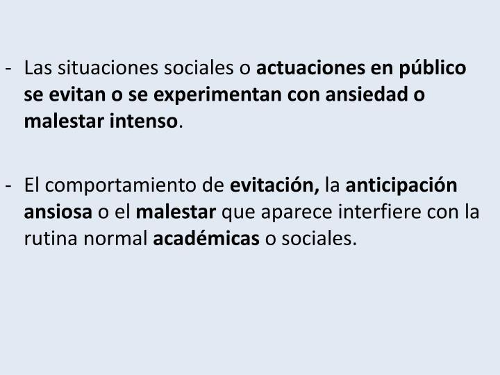 Las situaciones sociales o