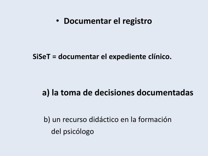 Documentar el registro