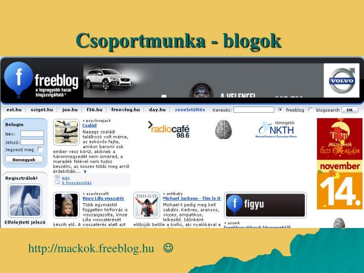 Csoportmunka - blogok