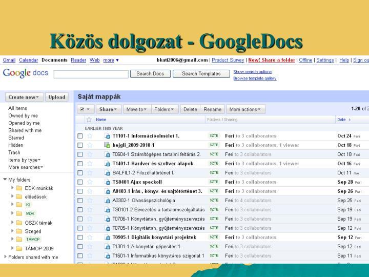 Közös dolgozat - GoogleDocs