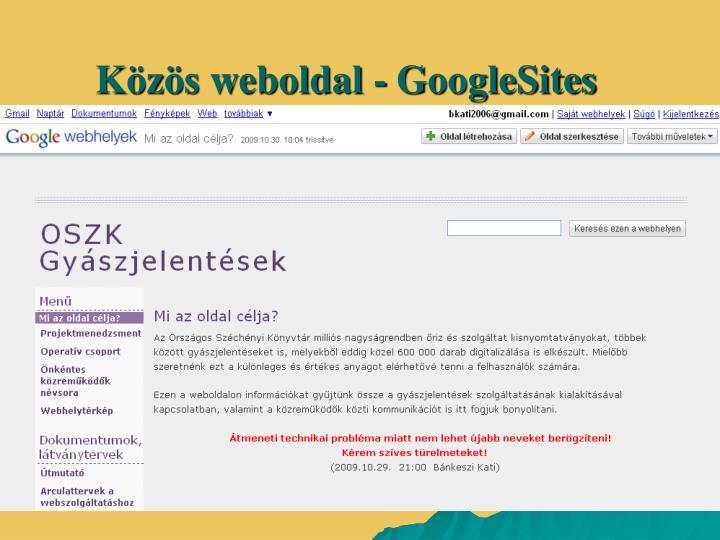 Közös weboldal - GoogleSites