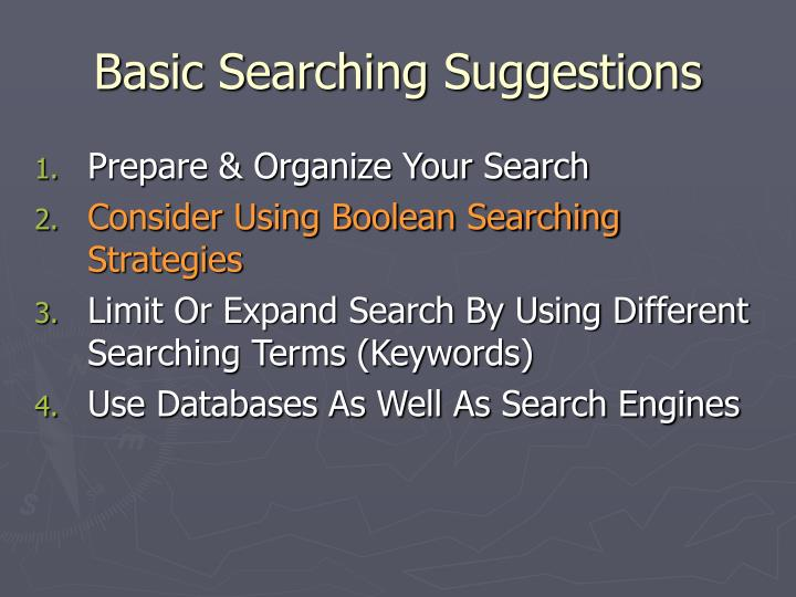 Basic Searching Suggestions