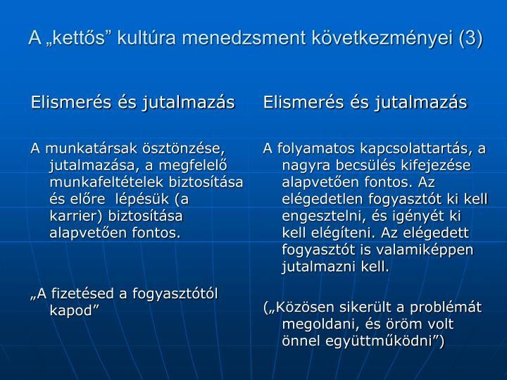 """A """"kettős"""" kultúra menedzsment következményei (3)"""