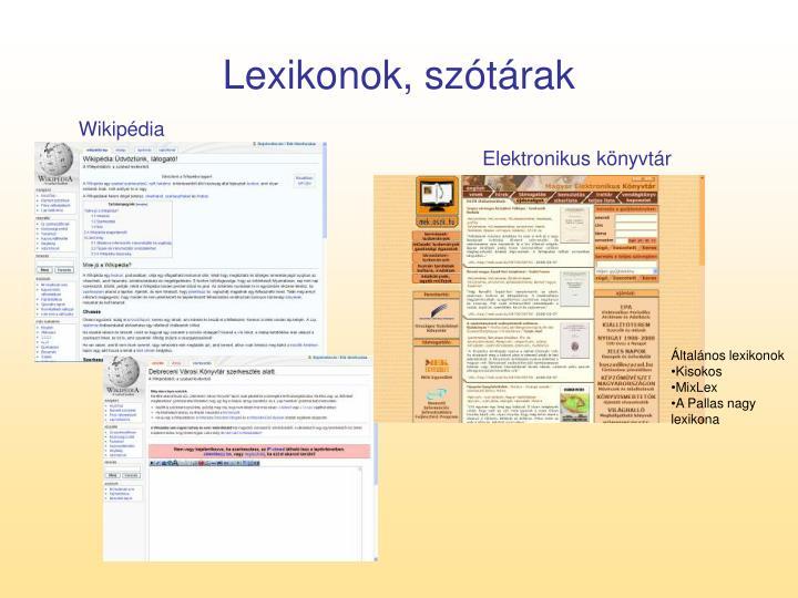 Lexikonok, szótárak
