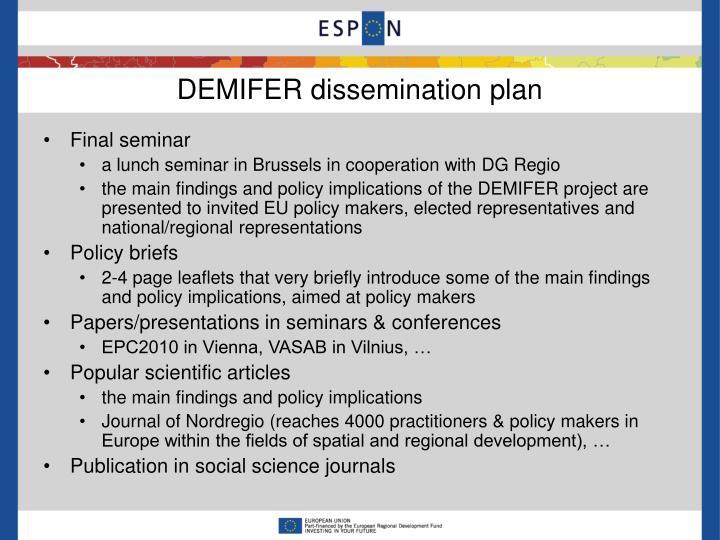 DEMIFER dissemination plan