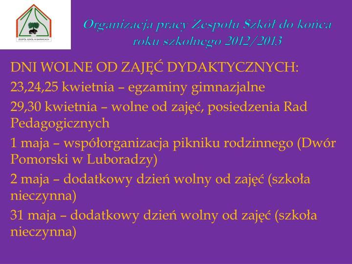 Organizacja pracy Zespołu Szkół do końca roku szkolnego 2012/2013