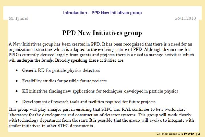 Introduction – PPD New Initiatives group