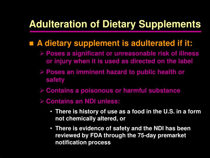 Adulteration of Dietary Supplements
