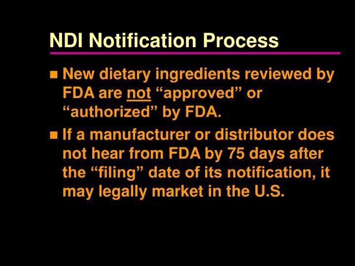 NDI Notification Process
