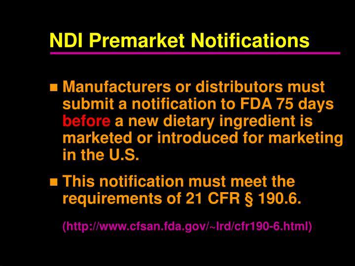 NDI Premarket Notifications