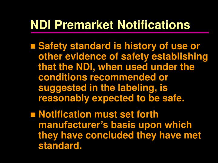NDI Premarket Notifications