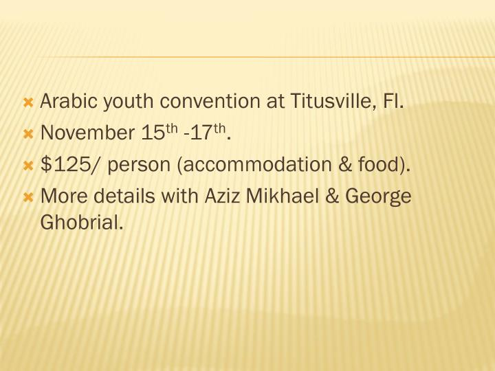 Arabic youth convention at Titusville, Fl.