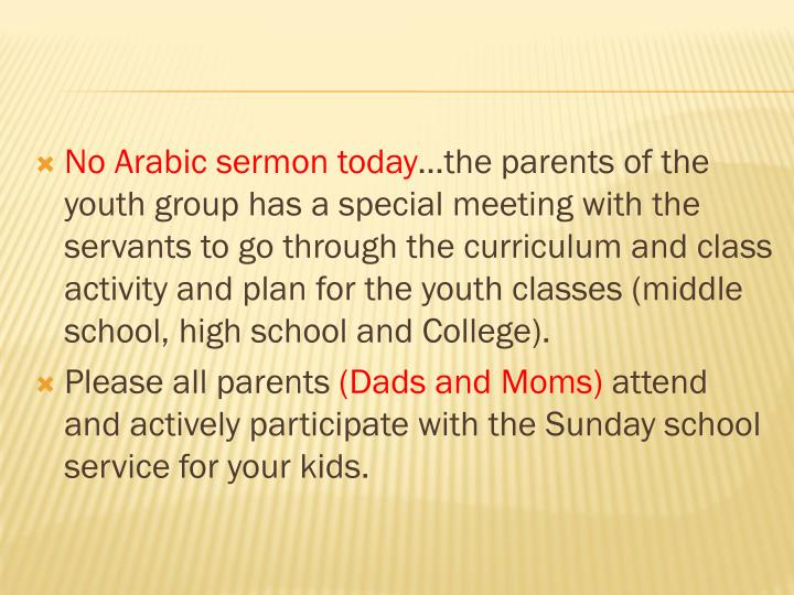 No Arabic sermon today
