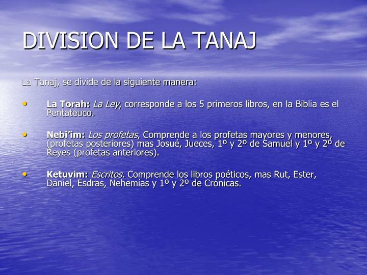 DIVISION DE LA TANAJ