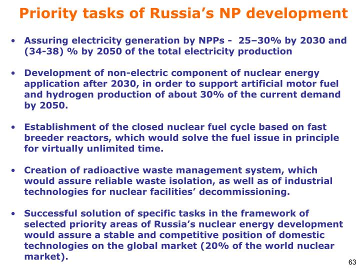 Priority tasks of Russia's NP development