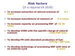 risk factors it is required till 2030