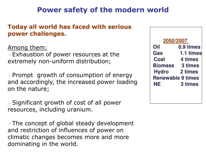 Power safety of the modern world