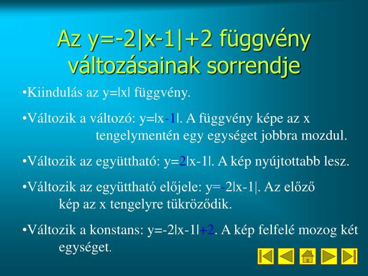 Az y=-2|x-1|+2 függvény változásainak sorrendje
