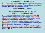 questions isaiah 46 1 24
