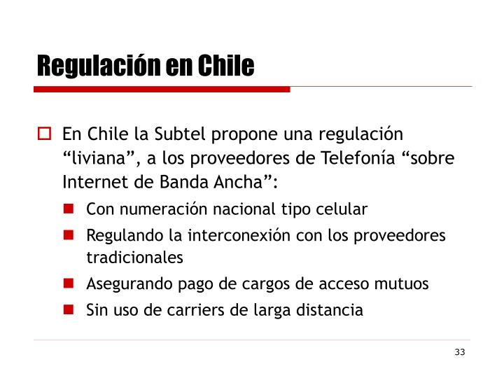 Regulación en Chile