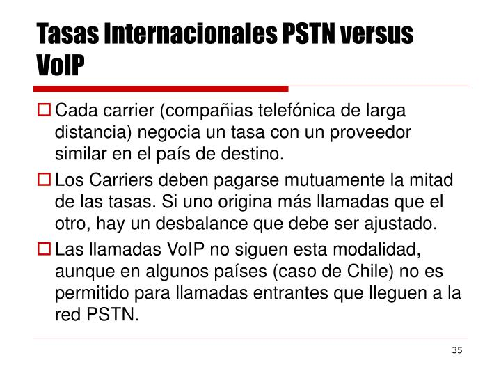 Tasas Internacionales PSTN versus VoIP