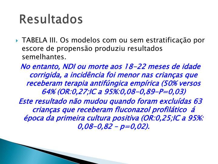 TABELA III. Os modelos com ou sem estratificação por escore de propensão produziu resultados semelhantes.