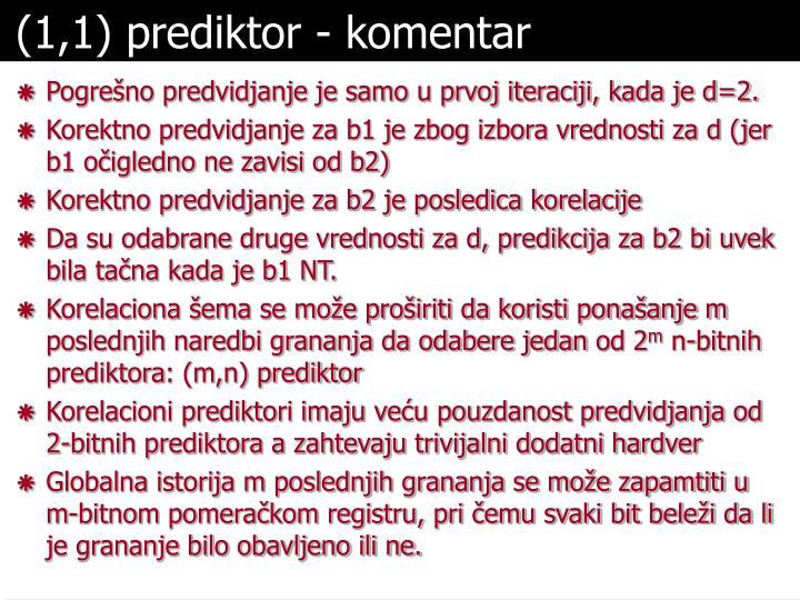 (1,1) prediktor - komentar