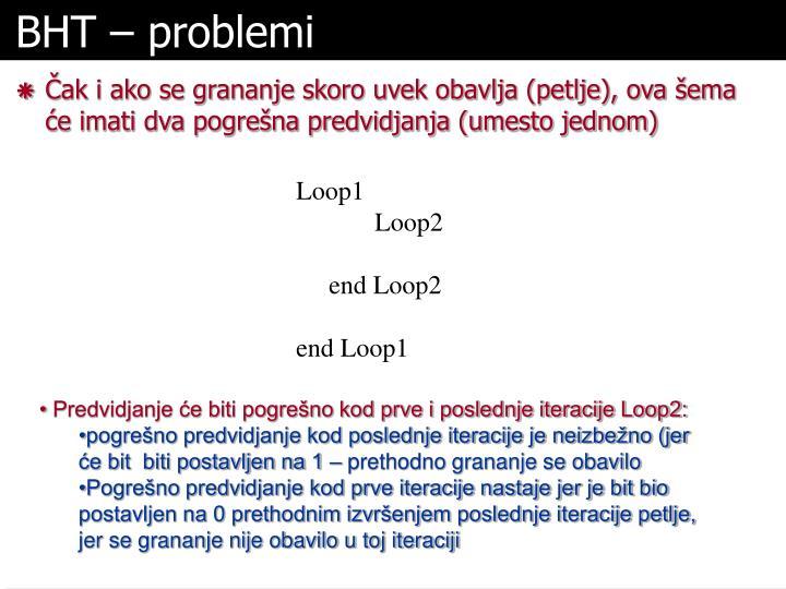 BHT – problemi