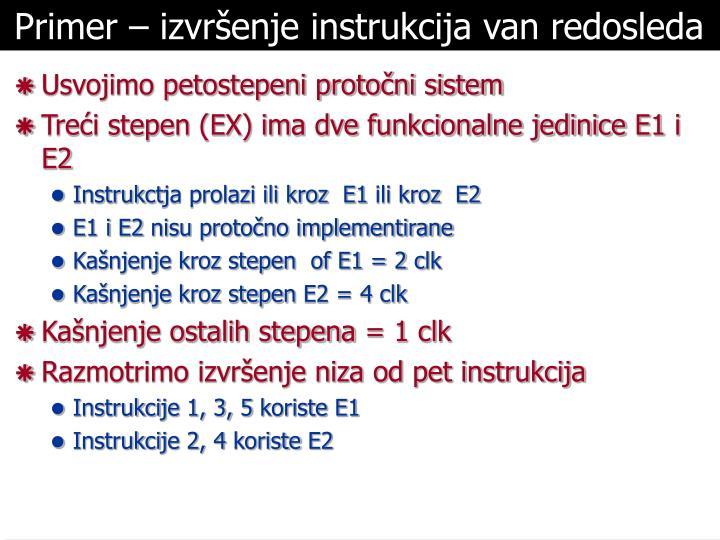 Primer – izvršenje instrukcija van redosleda