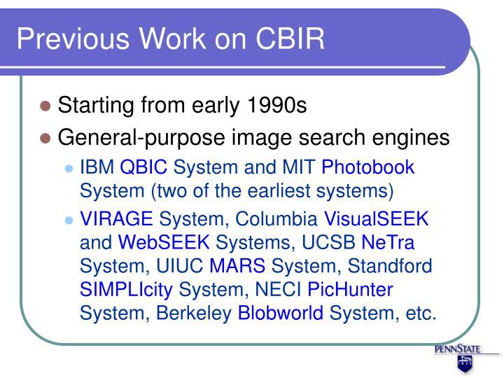 Previous Work on CBIR
