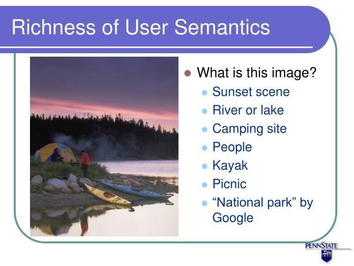 Richness of User Semantics