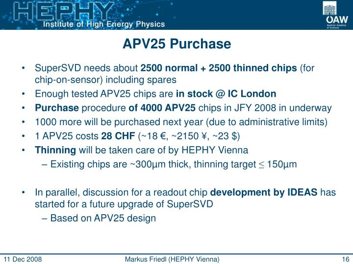 APV25 Purchase