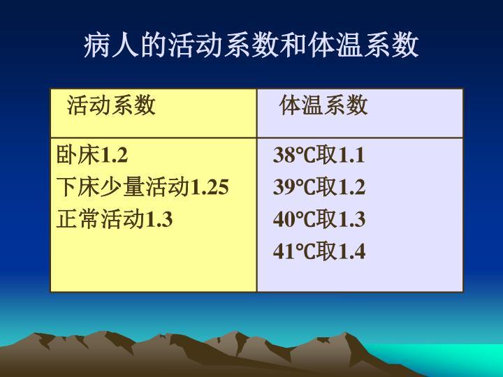 病人的活动系数和体温系数