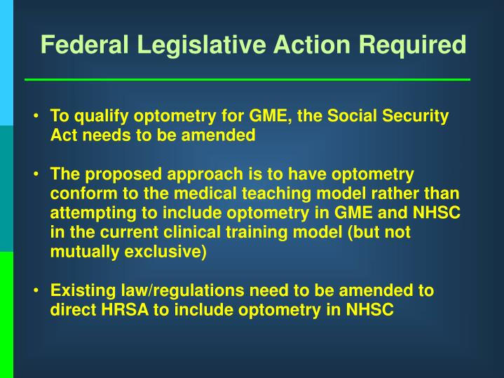 Federal Legislative Action Required