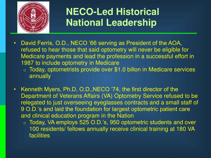 NECO-Led Historical