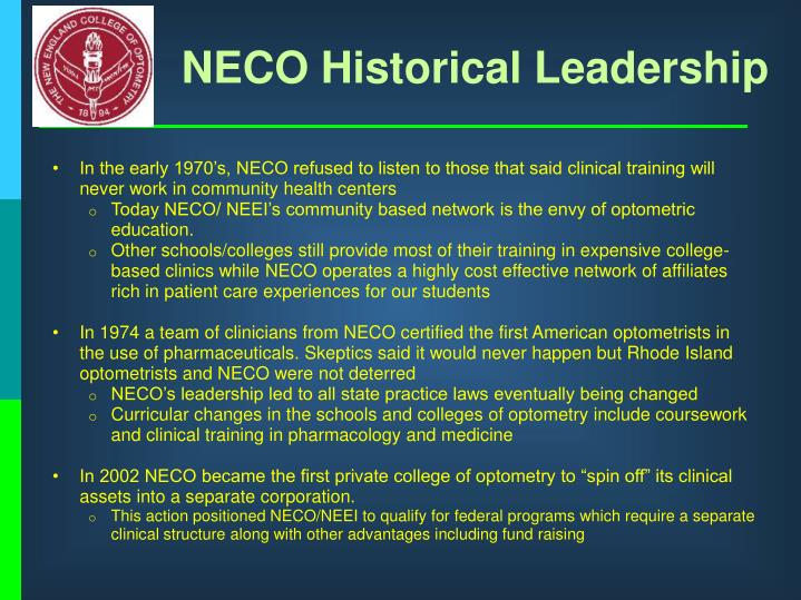 NECO Historical Leadership