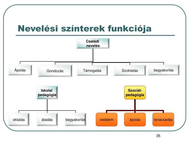Nevelési színterek funkciója